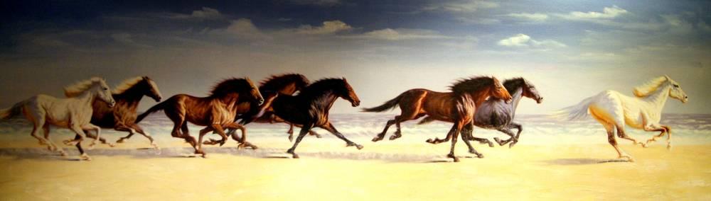Схема для вышивки  крестом   «Лошади   1 »  141 Х 40
