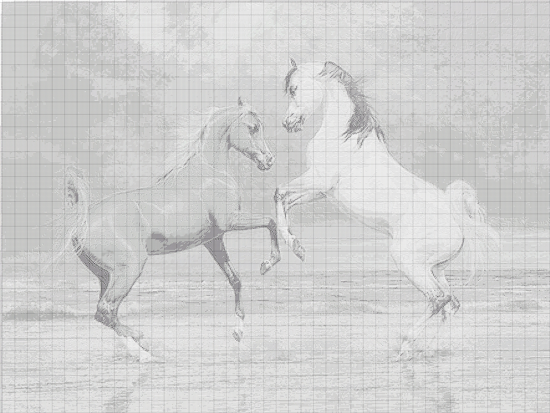 схема вышивки крестом лошадь в цветах