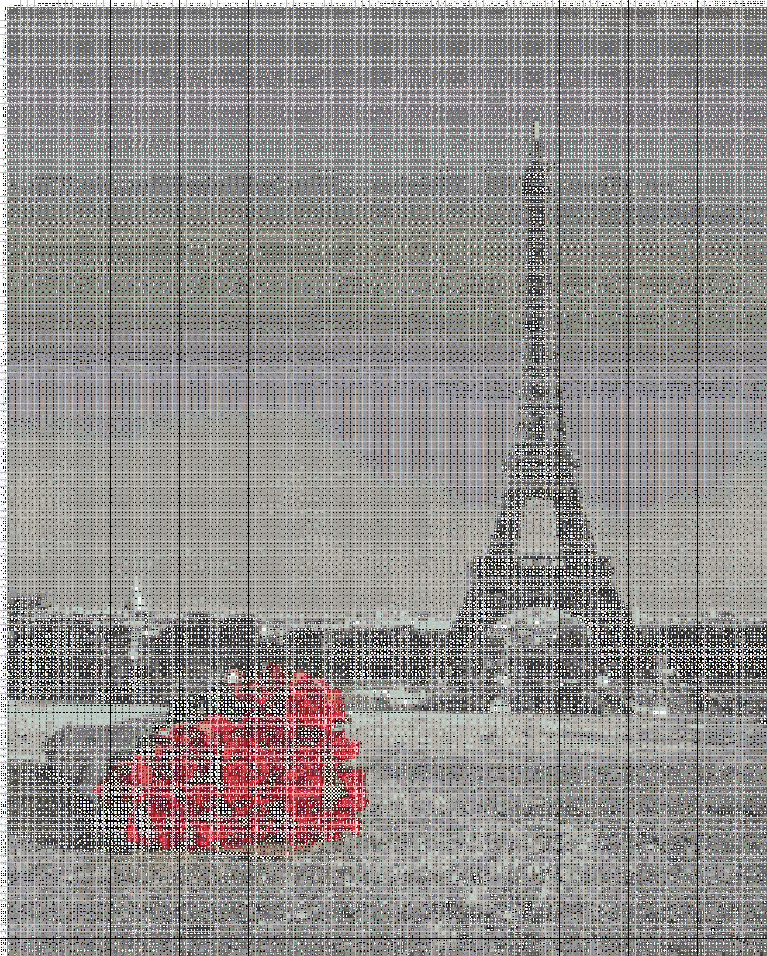 Вышивка крестом ейфилевая башня.