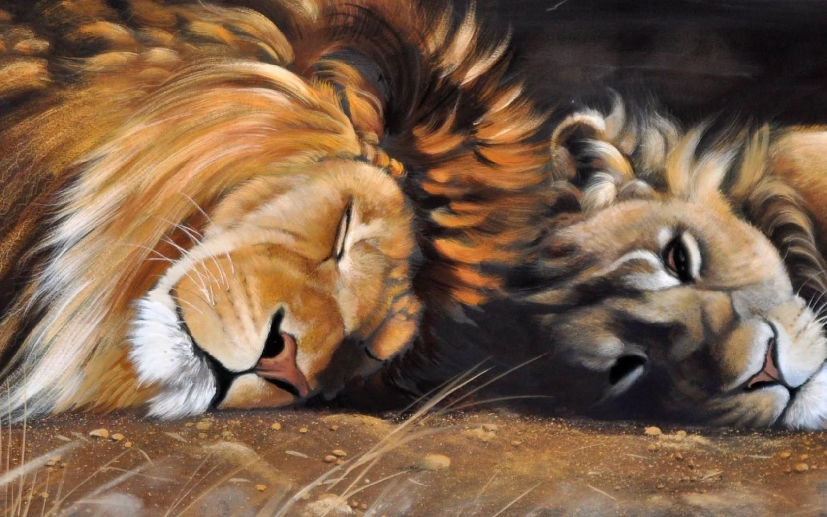 Схема для вышивки крестом «Лев и львица 1 » 75 Х 50