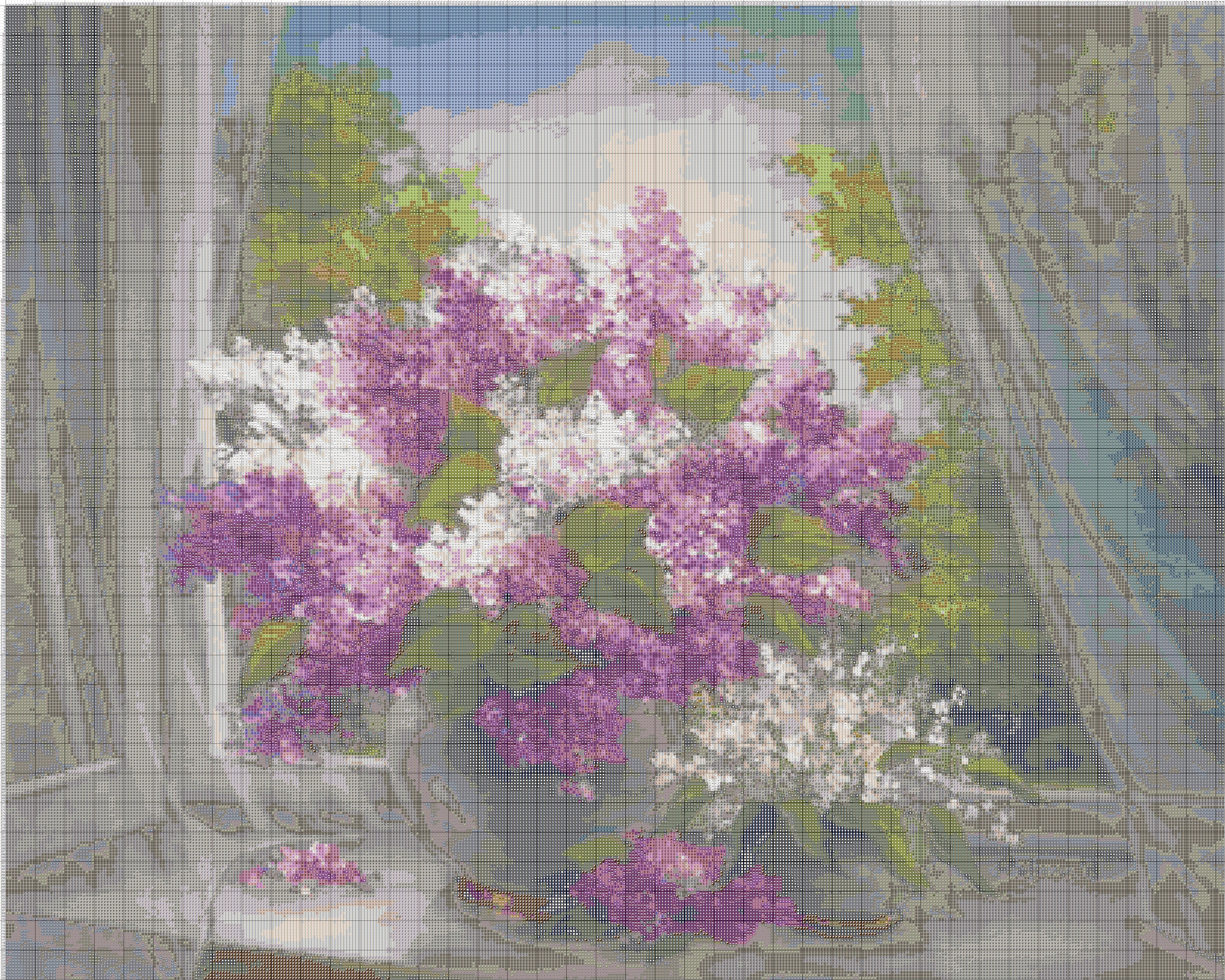 Схема для вышивки крестом «Цветы 1 » 75 Х 60